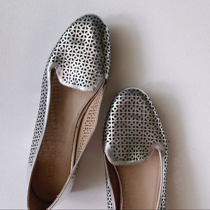 J. CREW Cleo Perforated Mirror Metallic Loafer